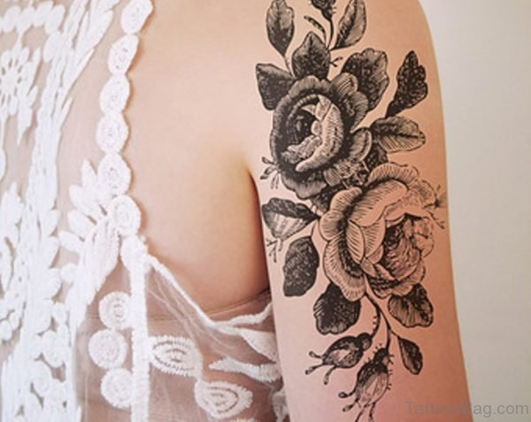 Black And Grey Vintage Flower Tattoo