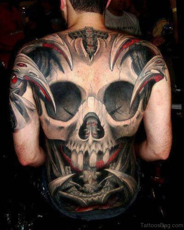 Black And Red 3D Skull Bone Tattoo
