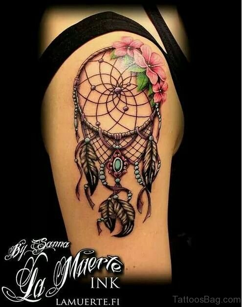 Black And Red Dream Catcher Tattoo