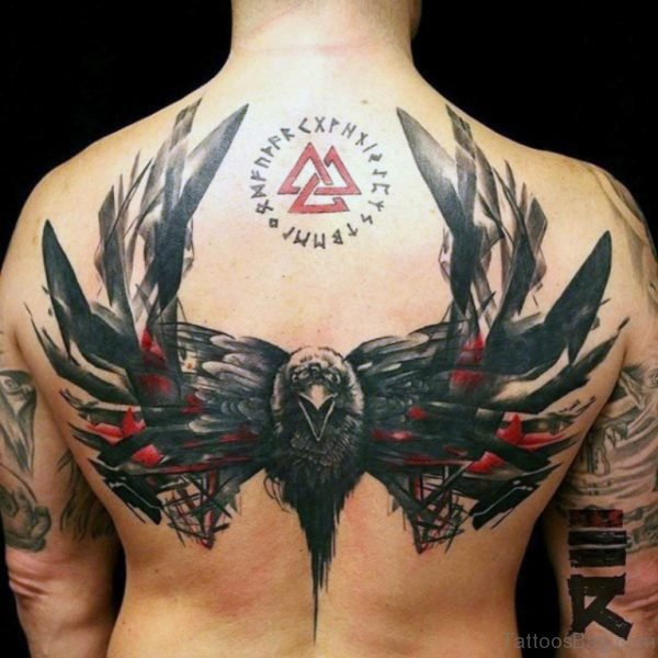 Black And Red Ink Crow Tattoo
