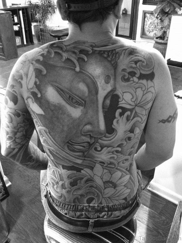 Black And White Buddha Tattoo On Back