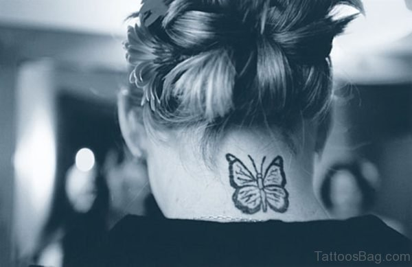 Black And White Butterfly Neck Tattoo Design