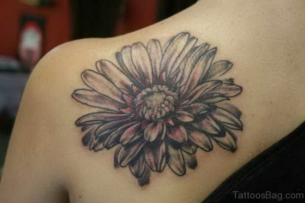 Black And White Daisy Flower Tattoo