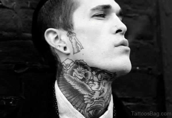 Black And White Designer Tattoo On Neck