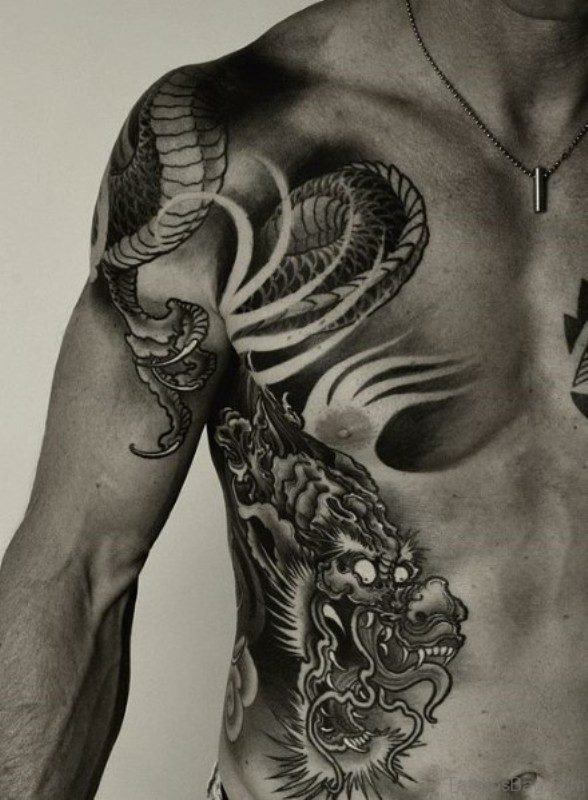 Black And White Dragon Shoulder Tattoo