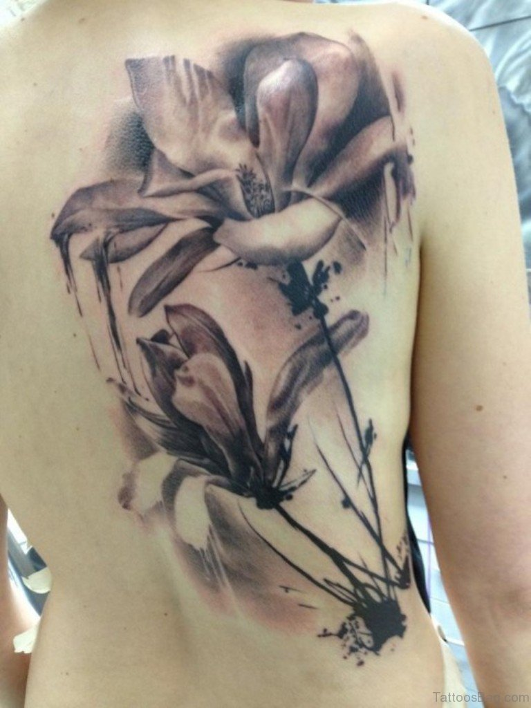 81 appealing black and white tattoos on back black and white flower tattoo dhlflorist Images