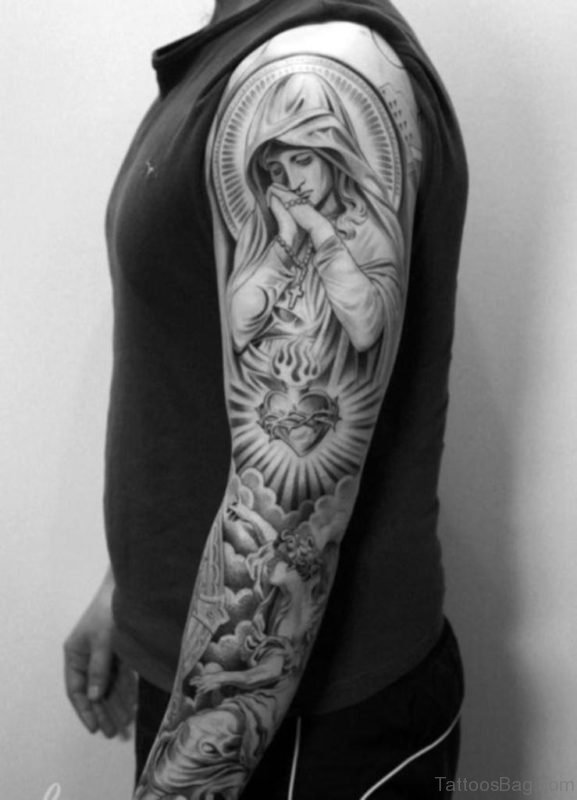 Black And White Mary Tattoo