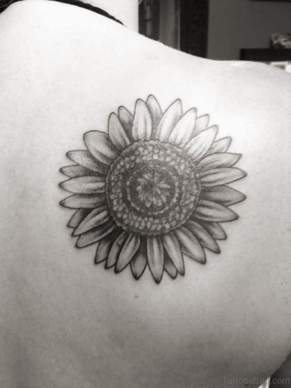 Black And White Sunflower Tattoo For Back