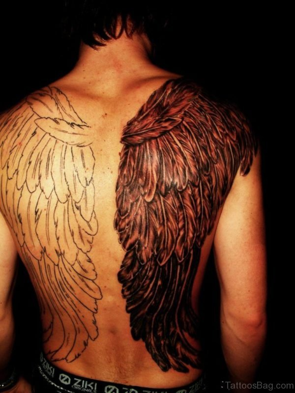 Black And White Wings Tattoo