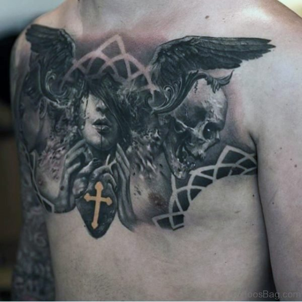 Black Angel Face Tattoo