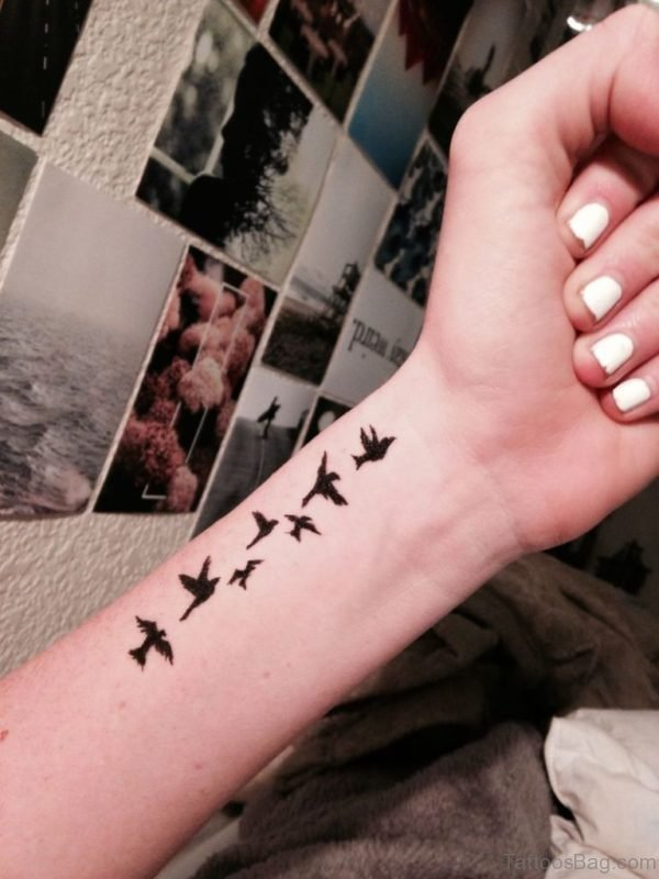 Awesome Black Birds Tattoo