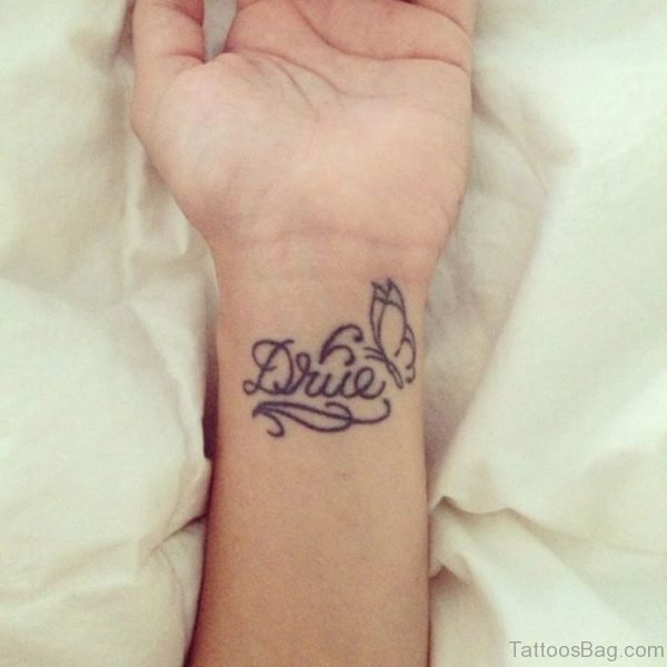 Black Butterfly And Name Tattoo