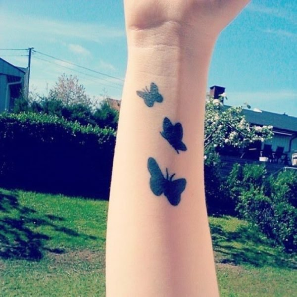 Black Butterfly Tattoo On Wrist