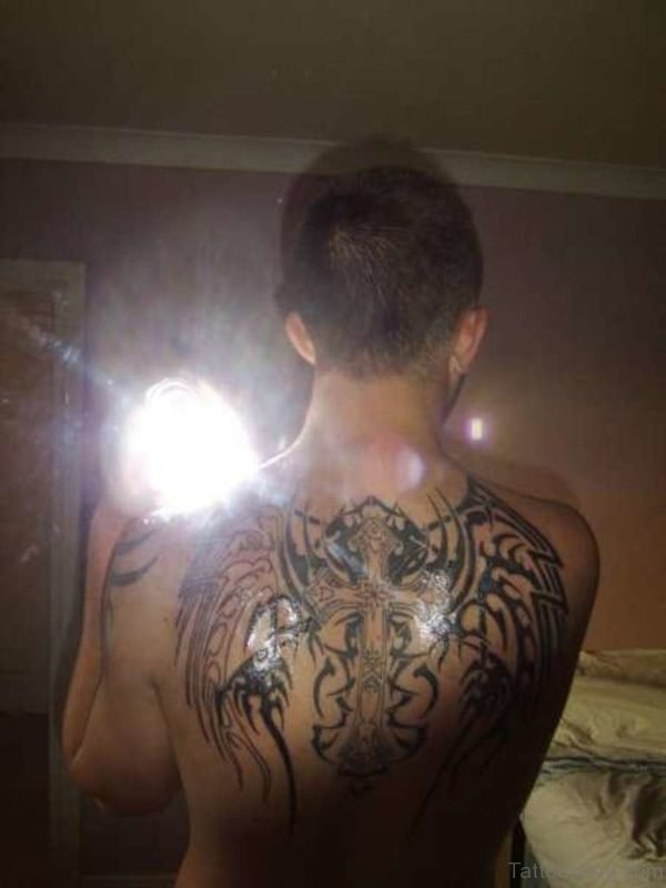 Black Cross Wings Tattoo