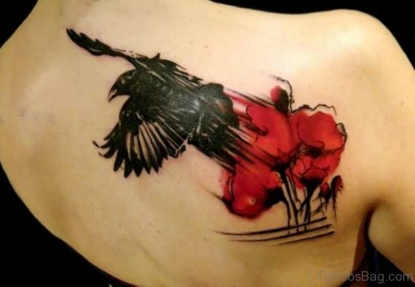 Black Crow And Lovely Red Flower Tattoo