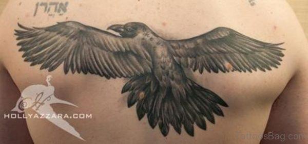 Black Crow Tattoo On Back