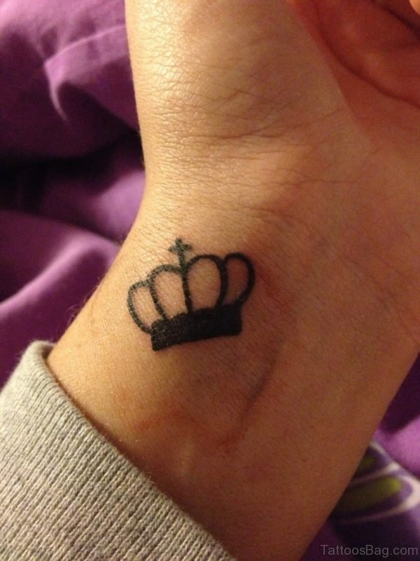 Black Crown Tattoo On Wrist