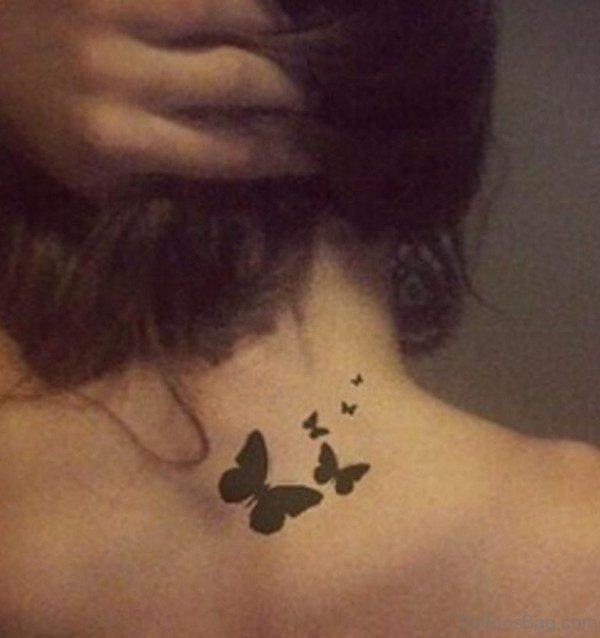 Black Cute Butterflies Tattoo On Neck
