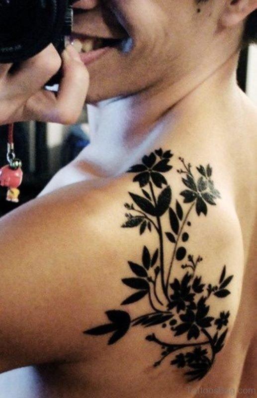 Black Designer Flowers Tattoo