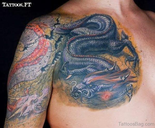Black Dragon Tattoo On Chest For Men