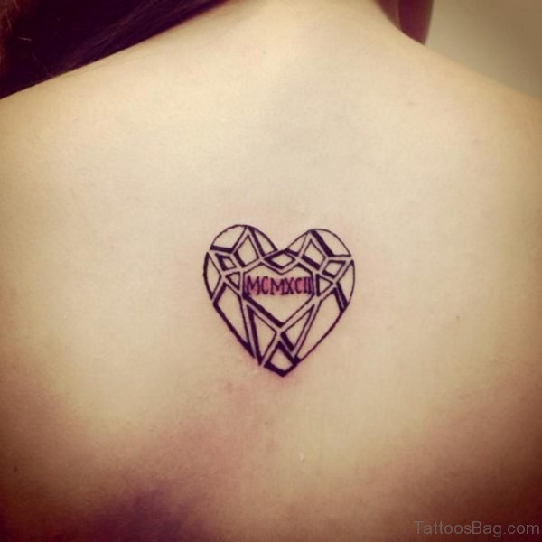 Black Geometric Heart Tattoo On Upper Back