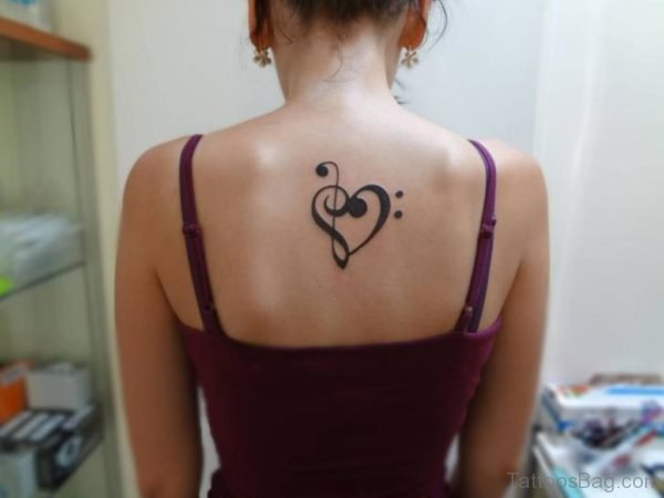Black Heart Tattoo On Back