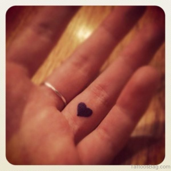Black Heart Tattoo On Finger