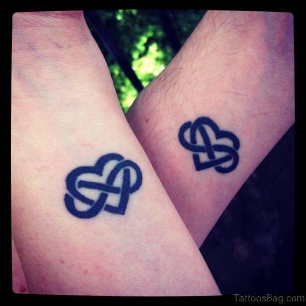 Great Black Heart Tattoo On Wrist