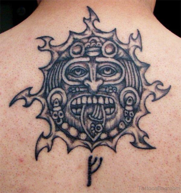 Black Ink Aztec Tattoo