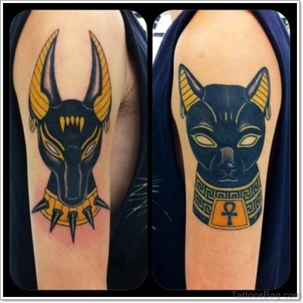 Black Ink Bastet And Anubis Egyptian Tattoo