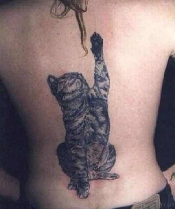 Black Ink Cat Tattoo