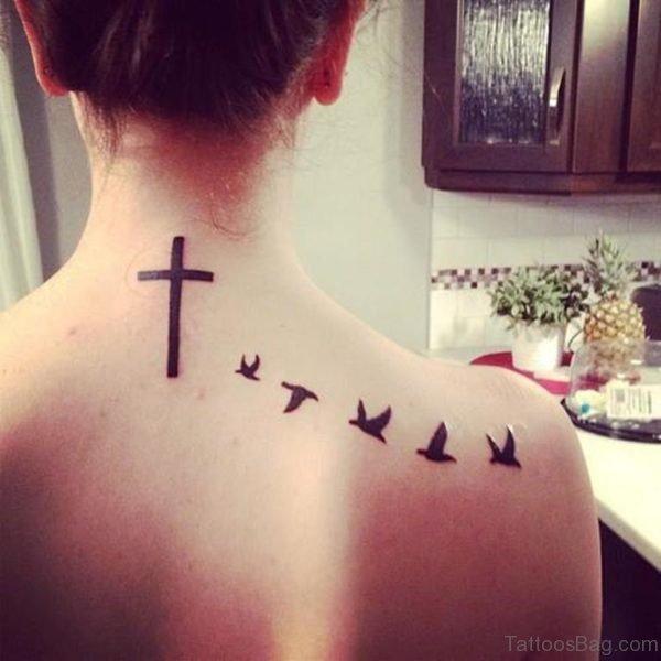 Black Ink Cross And Birds Tattoo