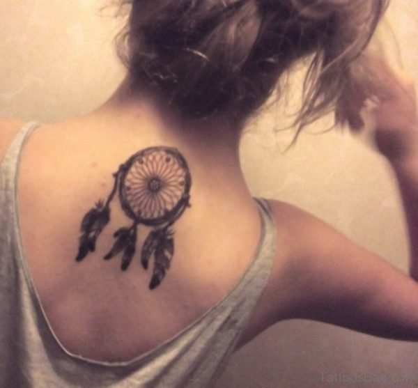 Black Ink Dreamcatcher Tattoo On Girl Upper Back