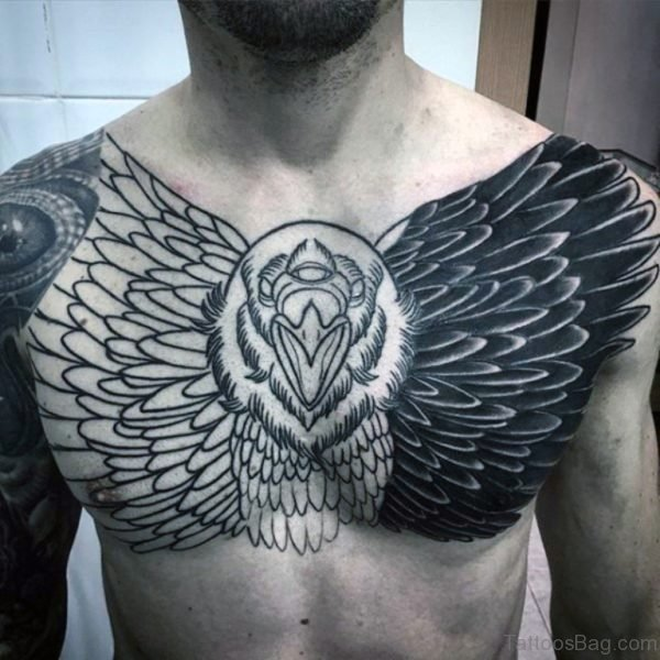 Black  Ink Flying Owl Tattoo On Full Chest