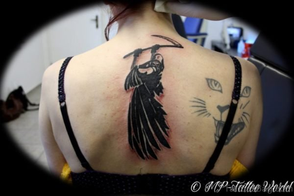 Black Ink Horror Grim Reaper Tattoo
