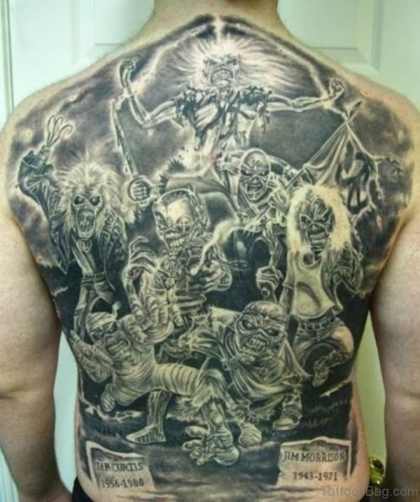 Black Ink Horror Tattoo On Man Full Back