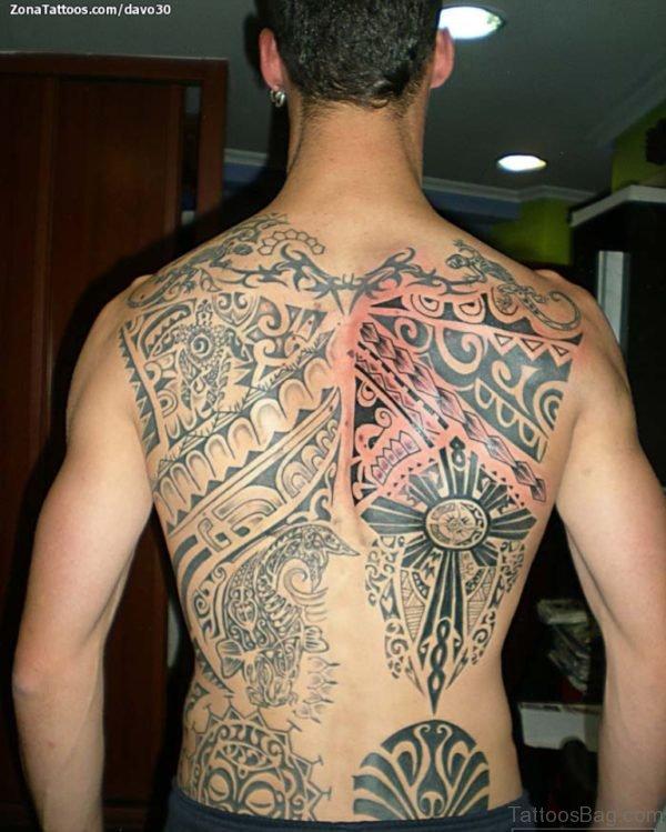 Black Ink Maori Tattoo On Back
