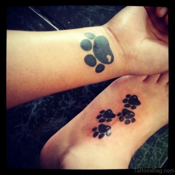 Black Ink Paw Tattoo