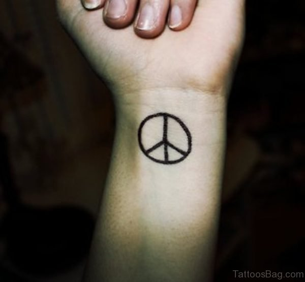 Black Ink Peace Tattoo