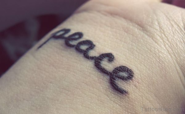 Black Ink Peace Word Tattoo
