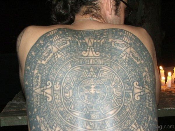 Black Inked Aztec Tattoo