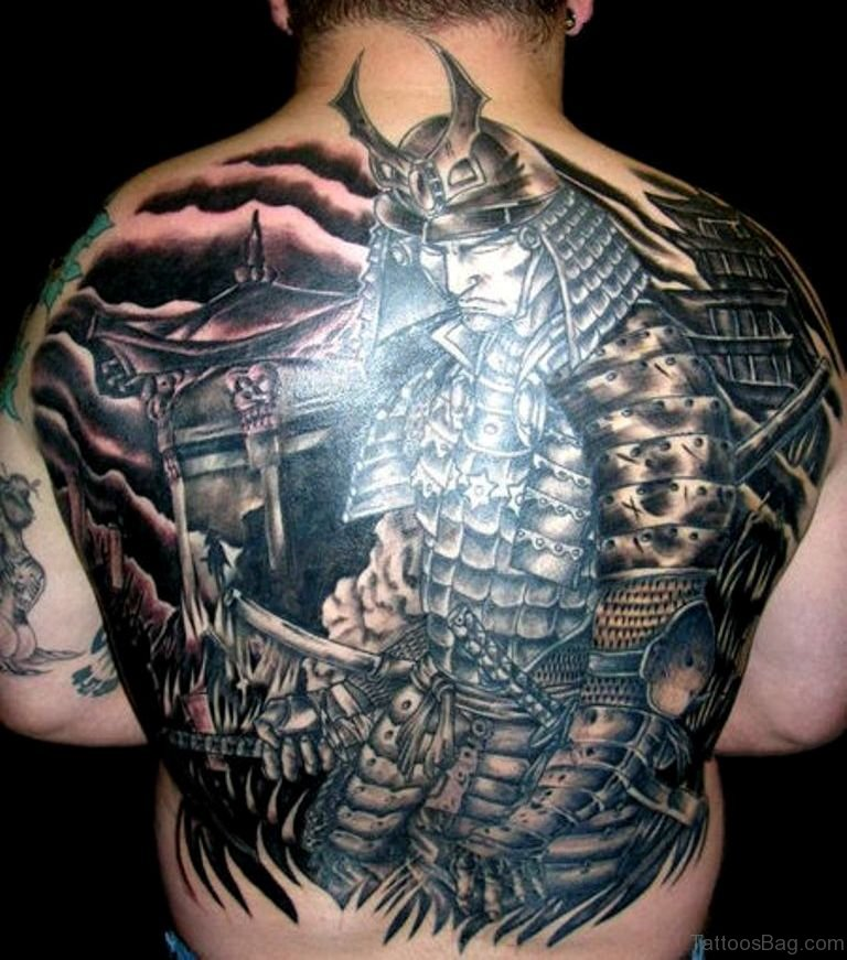 43 alluring japanese samurai tattoos for back for Oriental tattoo