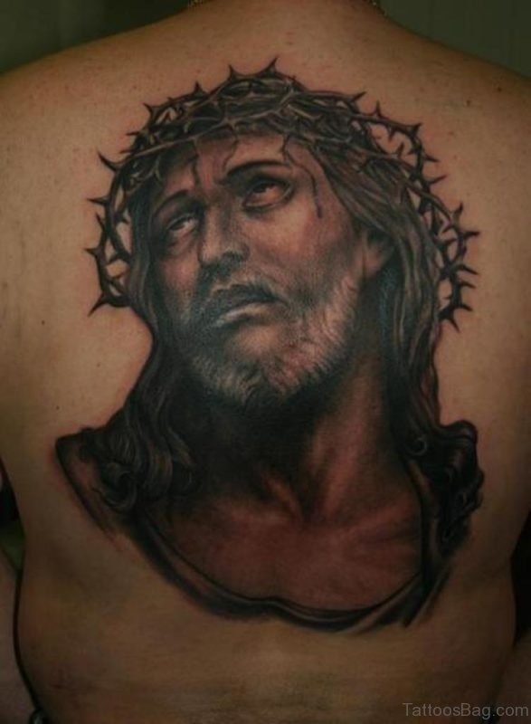 Black Jesus Tattoo On Back