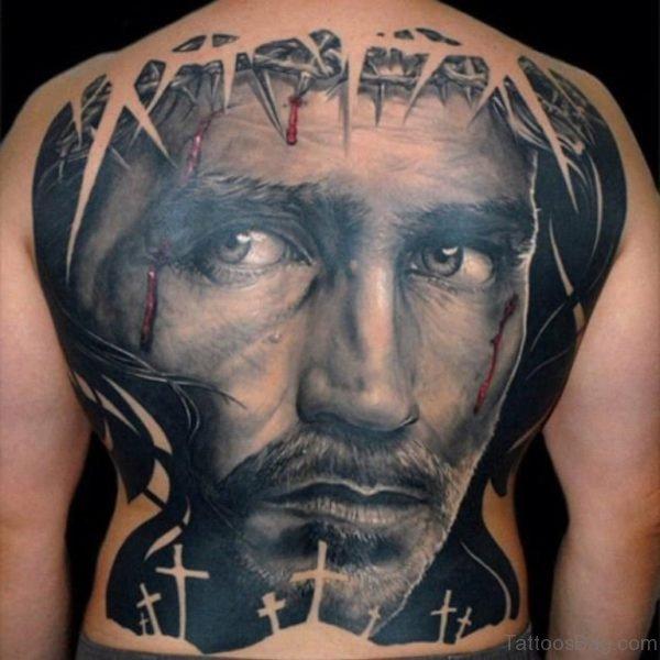 Black Jesus Tattoo On Back