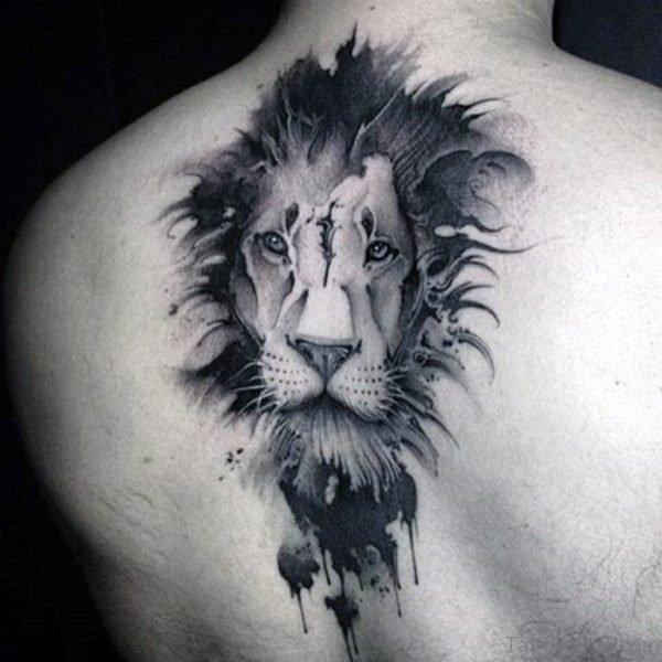 Black Lion Tattoo Design On Back