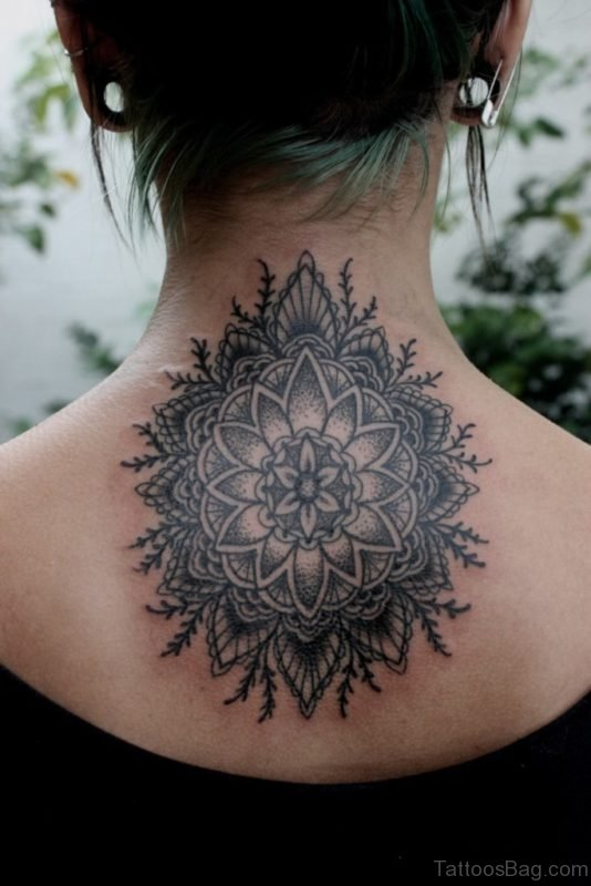 Black Mandala Tattoo Design On Back