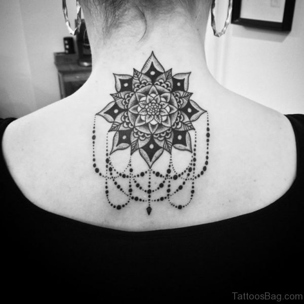 Black Mandala Tattoo On Back