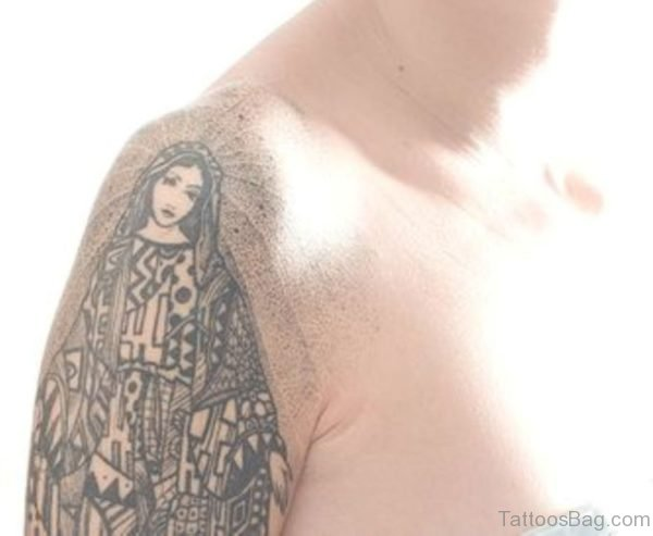 Black Mary Shoulder Tattoo