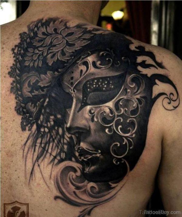 Black Mask Tattoo On Back