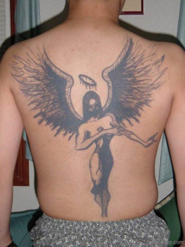 Black Memorial Angel Tattoo